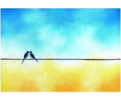 love birds painting love birds on a wire art love bird painting original oil painting whimsical art kissing birds yellow blue art silhouette art love birds