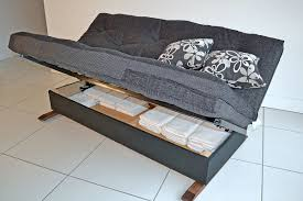 futon sofa bed with storage ideas