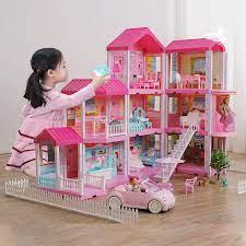 Mô hình nhà búp bê cỡ lớn cho bé - Nhà búp bê Barbie 3 tầng. Nhà Biệt Thự Búp  Bê