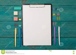 Colorful office accessories Colorful Work Blank Sheet Of Paper And Colorful Office Accessories Dreamstimecom Blank Sheet Of Paper And Colorful Office Accessories Stock Photo