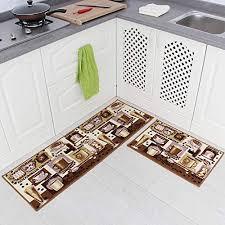 indeedshare kitchen rugs rubber backing decorative non slip doormat runner area entrance mats sets 2