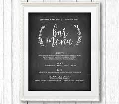 Chalkboard Menu Templates Bar Menu Sign Printable Wedding Sign Rustic Chalkboard