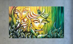 radha krishna painting indian art hindu modern india inside wall decor paintings india