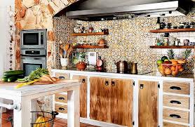 rustic charm furniture. Small Kitchen Island And Open Shelves With Rustic Charm Eclectic Design Ideas Furniture