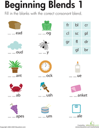 Phonics printable worksheets and activities (word families). Beginning Blends 1 Worksheet Education Com