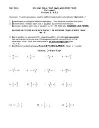 solving equations with fractions worksheet