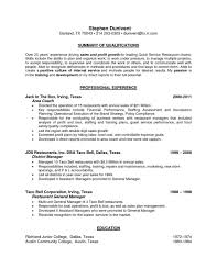 Restaurant General Manager Resume Monster Job Description Pdf
