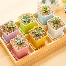 10 pcs colorful mini flower pots planting pot gardening plastic pots plant flowerpot for home office beautifying office bonsai grass pots planters mini