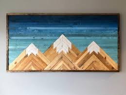 wood wall art decor mountain wood wall