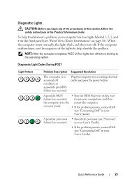 Dell Precision Light Codes Diagnostic Lights Dell Precision T5400 User Manual Page