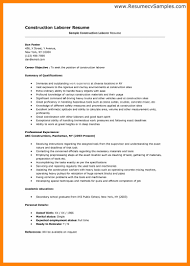 Construction Worker Resume Download Construction Laborer Resume