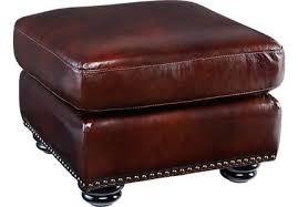 Brockett Brown Leather Ottoman