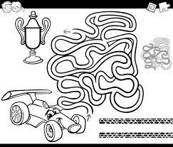 Doolhof Met Raceauto Kleurplaat Vector Premium Download