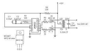 dc to ac converter circuit diagram dc image wiring simple powerfull inverter circuit diagram world on dc to ac converter circuit diagram