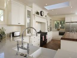 Kitchen:Simple And Bright Kitchen With Light Blue Paint Also Practical  White Island Inspiring Bright