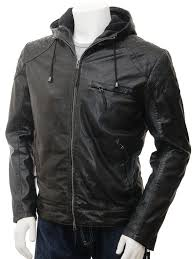 men s black hooded leather jacket aller front