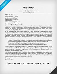 Brilliant Cover Letter High School Student Resume Cover Letter
