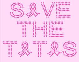 Save The Tatas Rhinestones Breast Cancer Awareness Rhinestone Or Glitter Tshirt