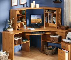 varnished pine wood corner computer desk which mixed with blue wall color awesome pine desks home office