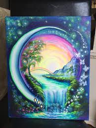 Unique painting idea, a world in an orb with rainbow, waterfall, flowers and