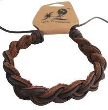 brown braided leather adjule hawaiian surfer bracelet