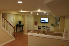 Simple And Neat Ideas For Finished Basement Decoration Design : Astonishing  Living Room Basement Design Ideas ...