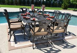 amalia 8 person luxury cast aluminum patio furniture dining set w 60 square table