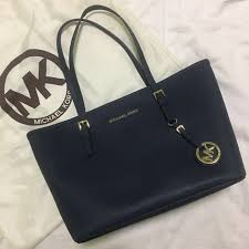 michael kors jet set travel saffiano leather small tote color navy women s fashion bags wallets on carou