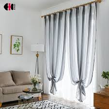 Nordic Style Striped Curtains for Living Room Bedroom Black White ...