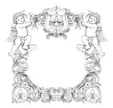 victorian frame design. Vector Victorian Frame With Angels Design