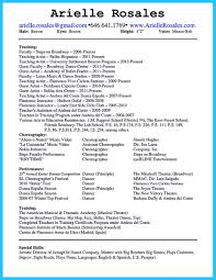 How To Make A Dance Resume Sample Dance Resume For College Application Free How To