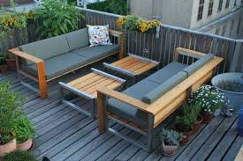 modern wood patio furniture. two benches and stools for small decl design modern wood patio furniture