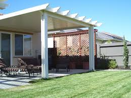 residential awning installed in a garden