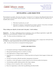 Sample Of Job Objective In Resume Objective For Resume For Marketing Sugarflesh 41