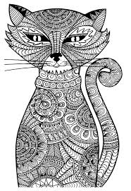 Small Picture Free coloring page coloring adult cat Cat with zentangle patterns