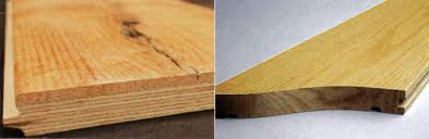Side-by-side look at the constructive differences between engineered  hardwood (left)