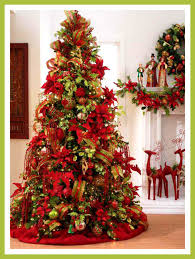 Credit image. green christmas tree red decorations .