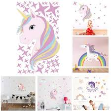 cartoon unicorn wall sticker magic colorful animals horse stars wall decals for kids girls room diy poster wallpaper home decor canada 2018 from qwonly