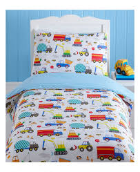 bright trucks 4 in 1 toddler bedding bundle duvet pillow and covers