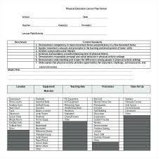 Sample Physical Education Lesson Plan Template Unit Plans For ...