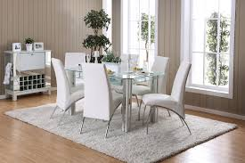 berthold contemporary style glass chrome 7pc dining set w white leather chairs