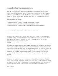 Work Performance Evaluation Template Sample Employee Reviews