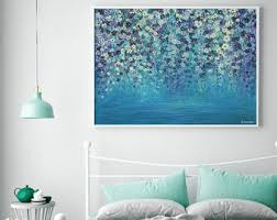 large wall art acrylic painting canvas art giclee print painting print floral wall art abstract painting canvas print large art print on blue gray and white wall art with gicl e prints etsy