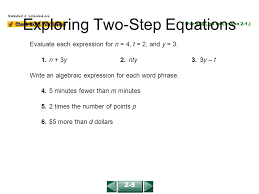 exploring two step equations