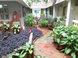 new guest house mini garden inside ashram