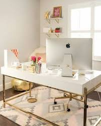 closet office space. love the gold white grey and pink office closet space