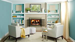 fireplace flanked by white painted shelves