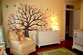 decorating ideas for baby room. Drop Dead Gorgeous Picture Of Unique Baby Nursery Room Decoration Using Owl Tree Mural Decorating Ideas For