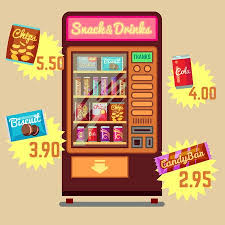 Food And Drink Vending Machines New Retro Vector Vending Machine With Snacks And Drinks Flat Icons