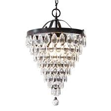 popular style selections 3 light antique bronze crystal chandelier at with regard to small bronze